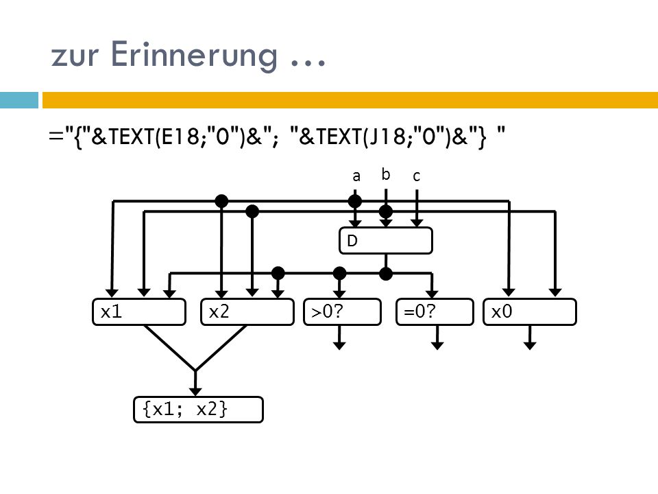 zur Erinnerung … = { &TEXT(E18; 0 )& ; &TEXT(J18; 0 )& } D b a c