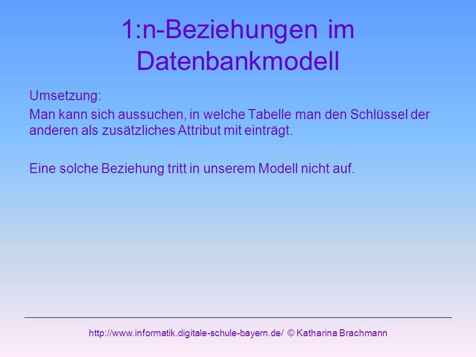 1:n-Beziehungen im Datenbankmodell