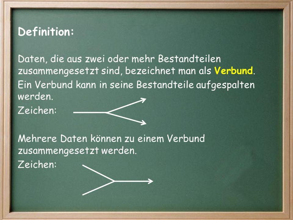 Definition: Daten, die aus zwei oder mehr Bestandteilen zusammengesetzt sind, bezeichnet man als Verbund.