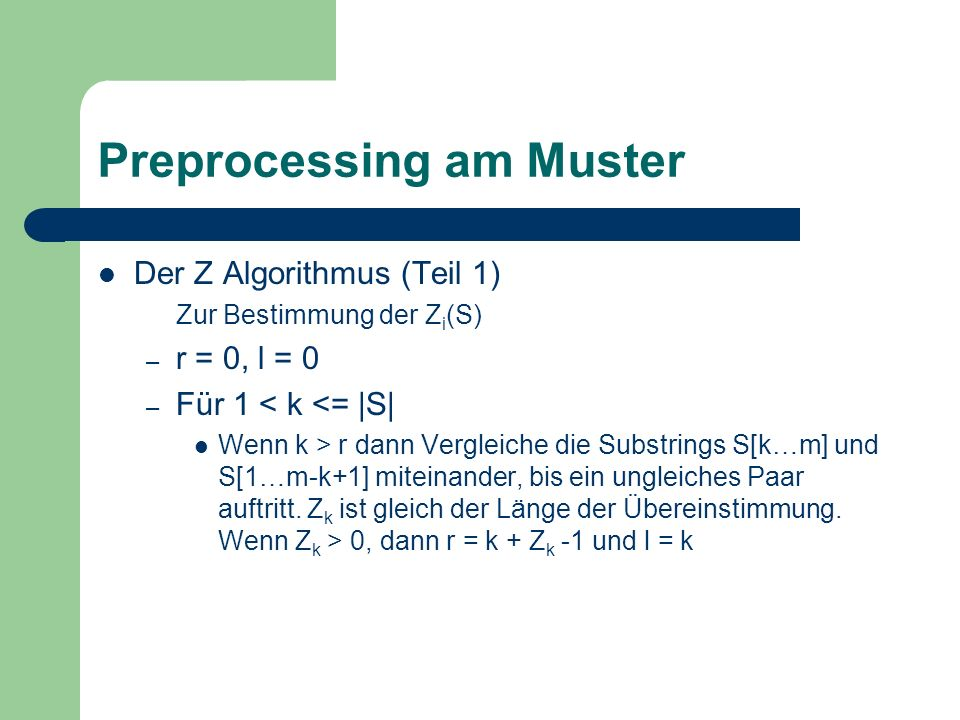 Preprocessing am Muster