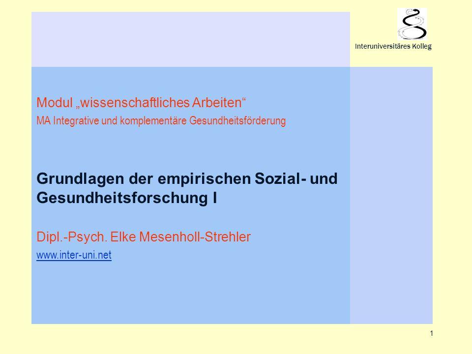Grundlagen der empirischen Sozial- und Gesundheitsforschung I