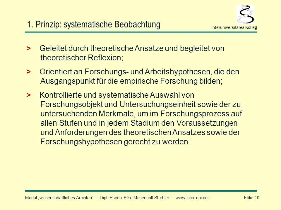 1. Prinzip: systematische Beobachtung