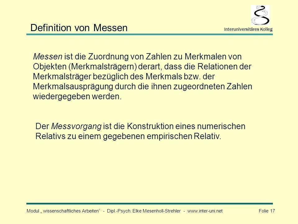 Definition von Messen Interuniversitäres Kolleg.
