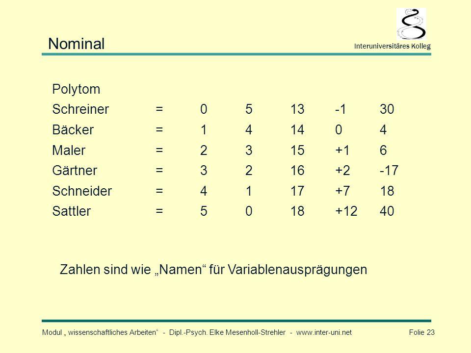 Nominal Polytom Schreiner = 5 13 -1 30 Bäcker 1 4 14 Maler 2 3 15 +1 6