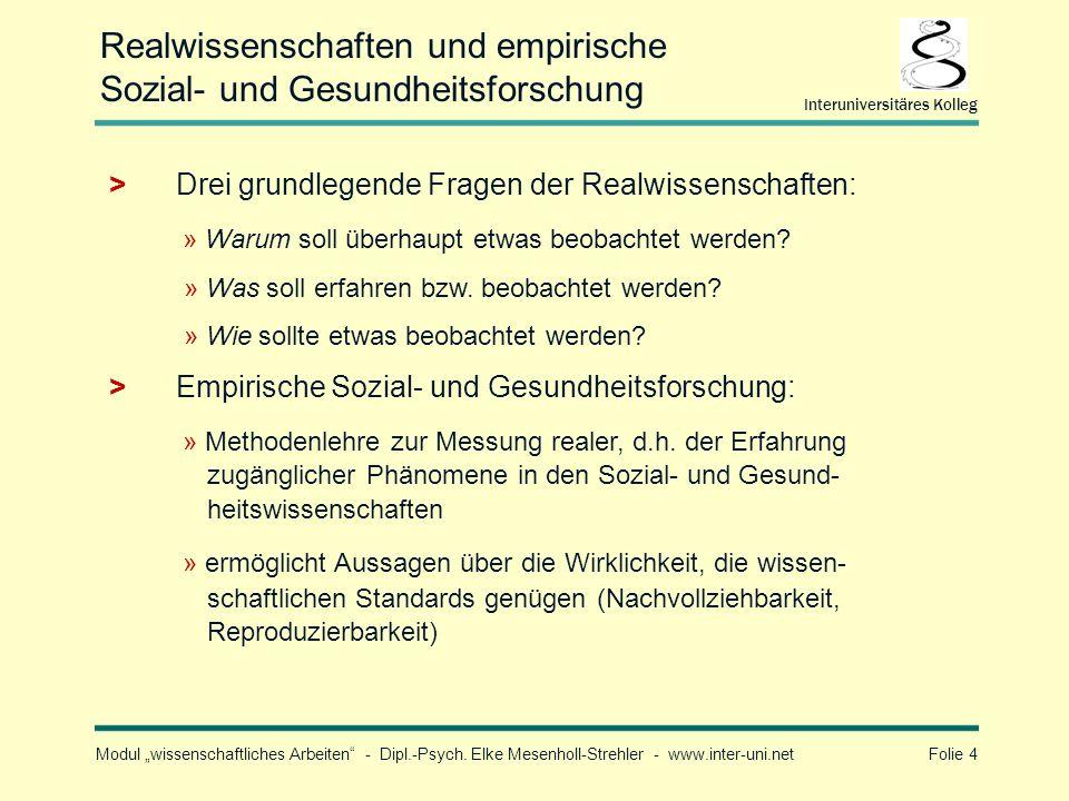 Realwissenschaften und empirische Sozial- und Gesundheitsforschung