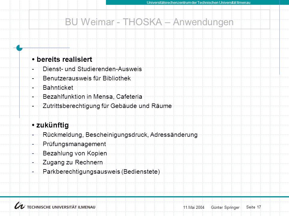 BU Weimar - THOSKA – Anwendungen
