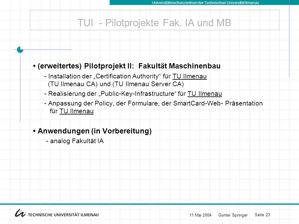 TUI - Pilotprojekte Fak. IA und MB