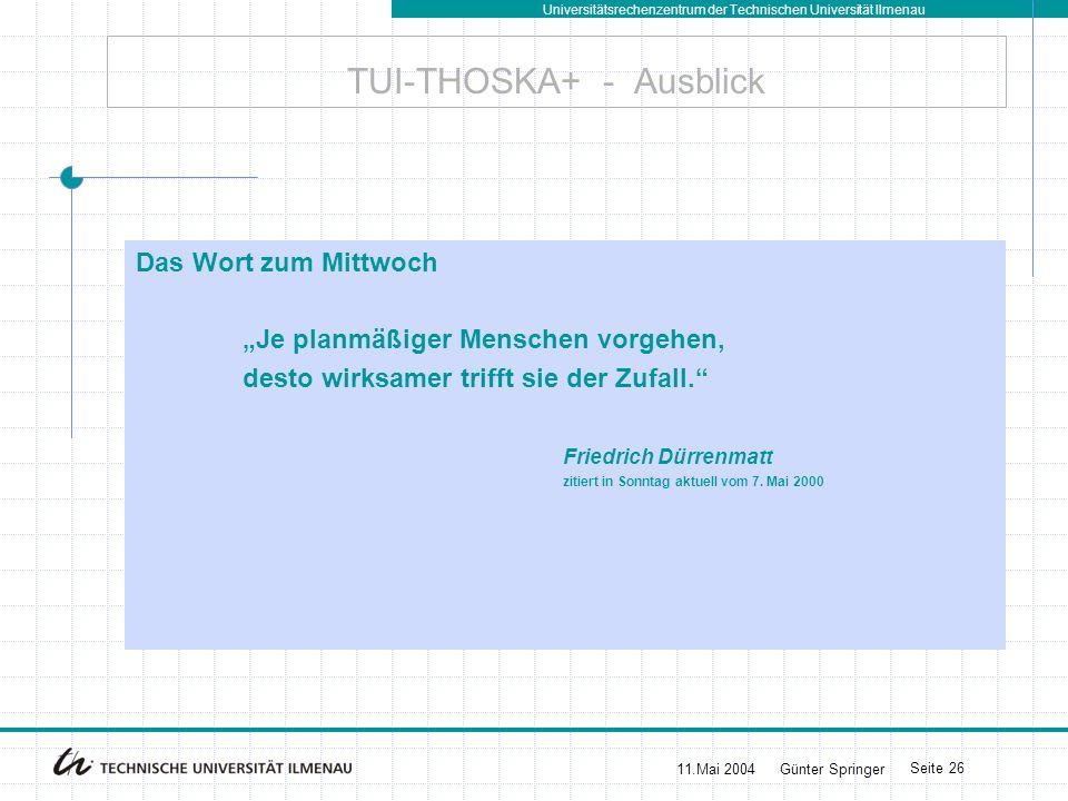 TUI-THOSKA+ - Ausblick