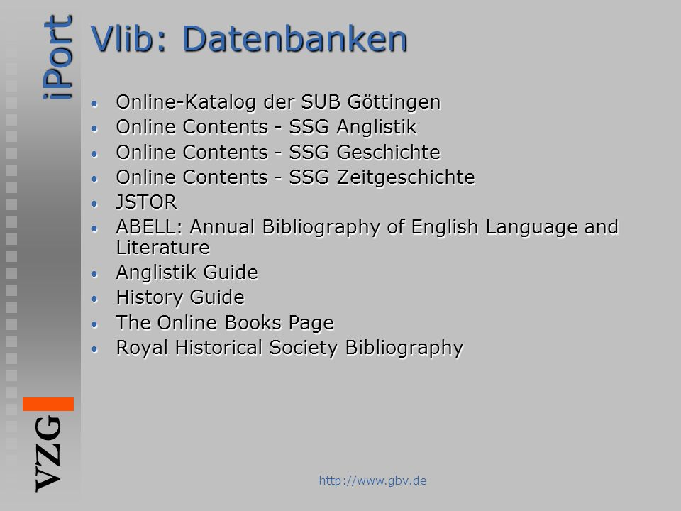 Vlib: Datenbanken Online-Katalog der SUB Göttingen