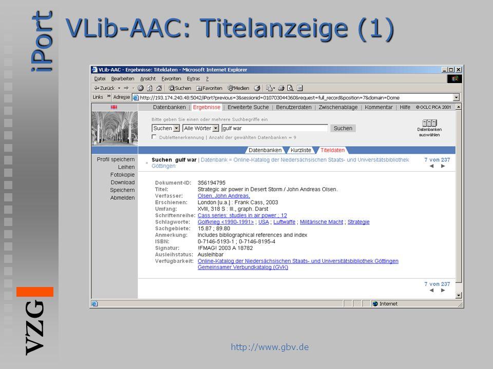 VLib-AAC: Titelanzeige (1)