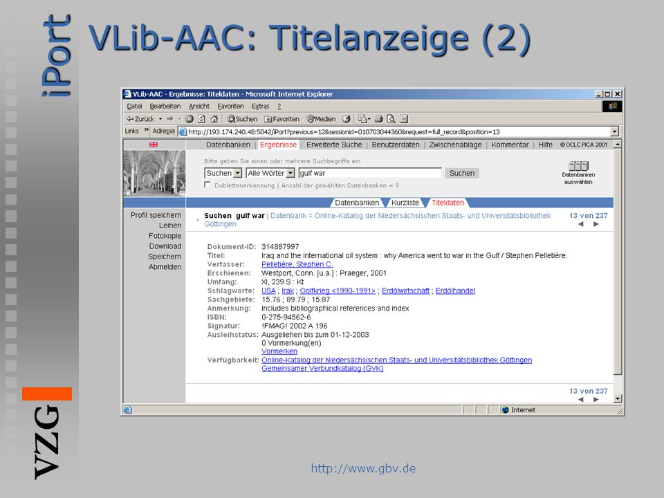 VLib-AAC: Titelanzeige (2)