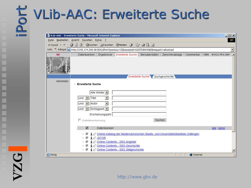 VLib-AAC: Erweiterte Suche