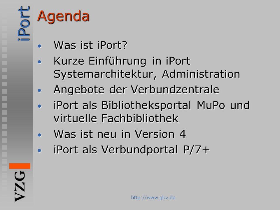 Agenda Was ist iPort Kurze Einführung in iPort Systemarchitektur, Administration. Angebote der Verbundzentrale.
