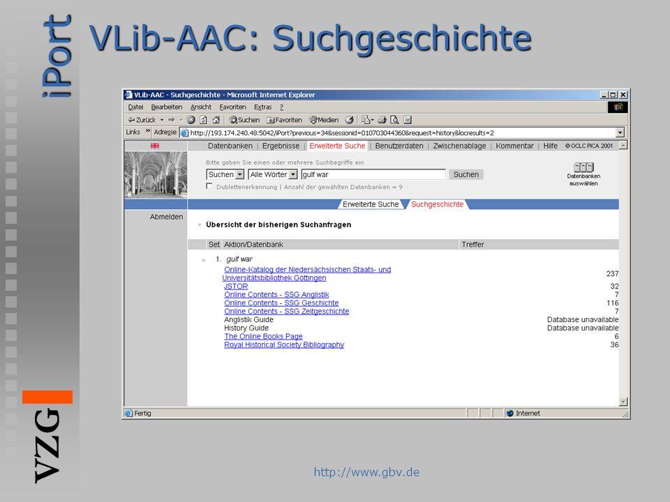 VLib-AAC: Suchgeschichte