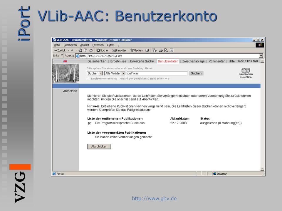 VLib-AAC: Benutzerkonto