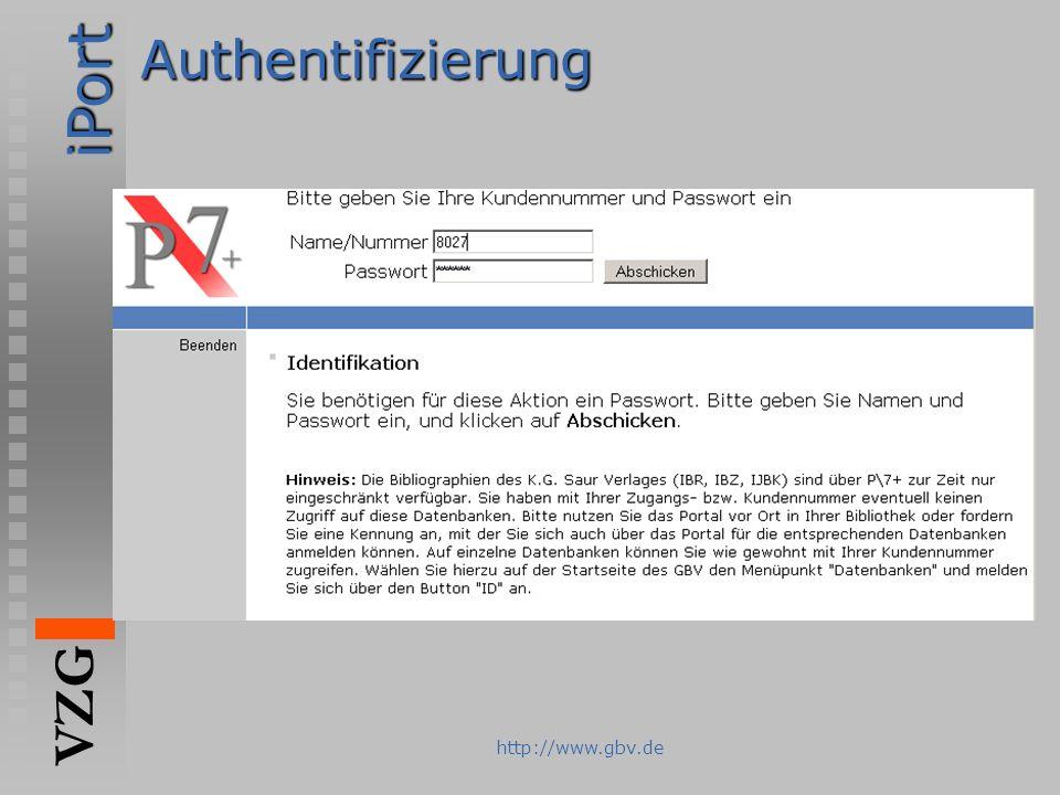 Authentifizierung http://www.gbv.de