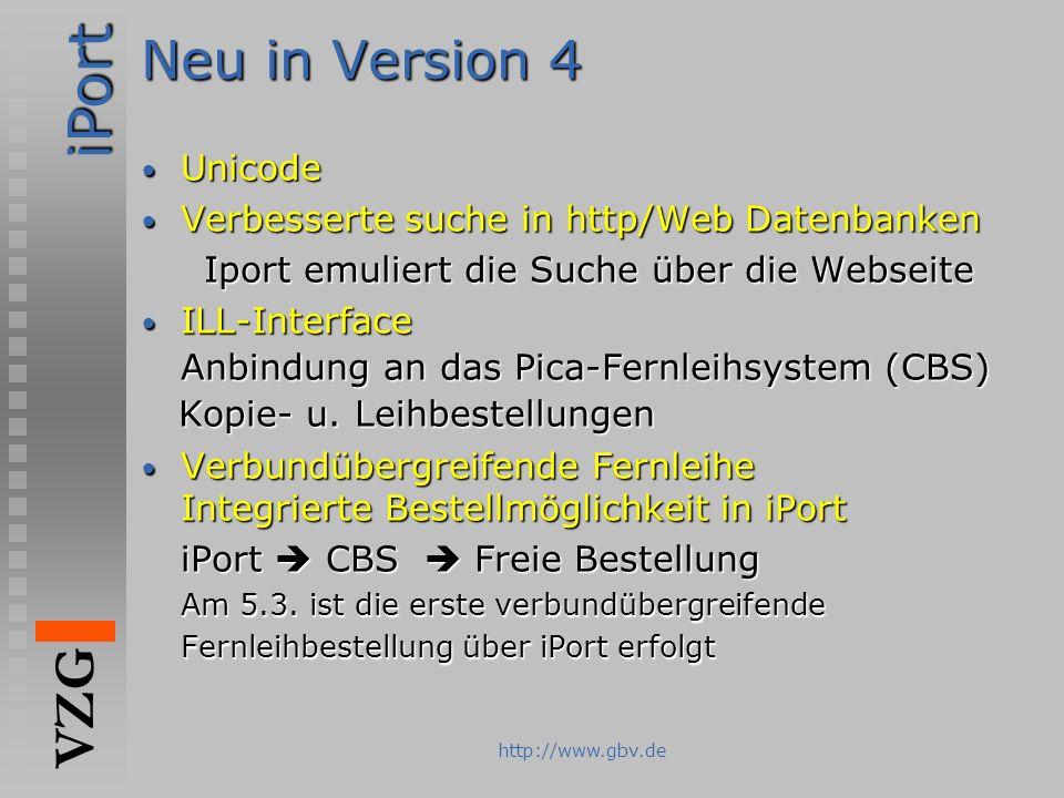 Neu in Version 4 Unicode Verbesserte suche in http/Web Datenbanken