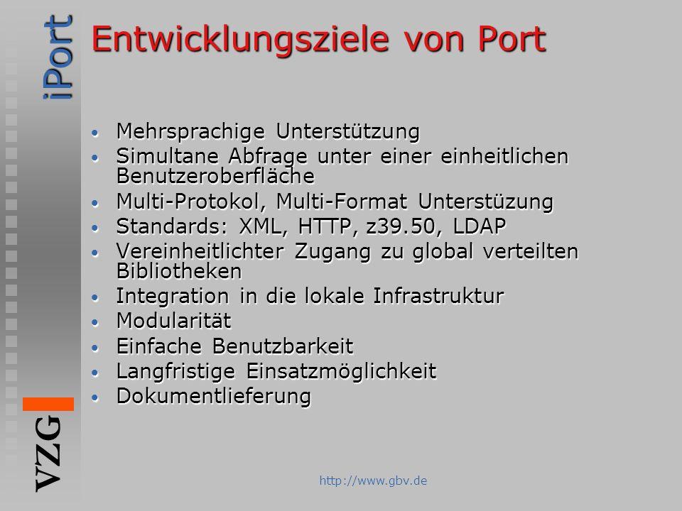 Entwicklungsziele von Port