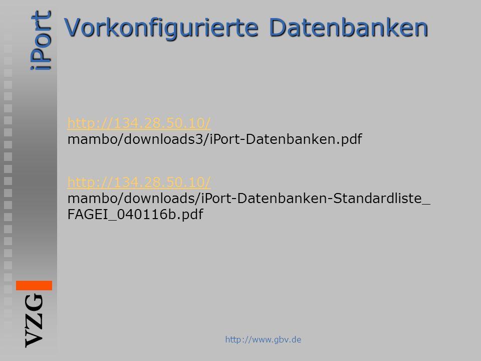 Vorkonfigurierte Datenbanken