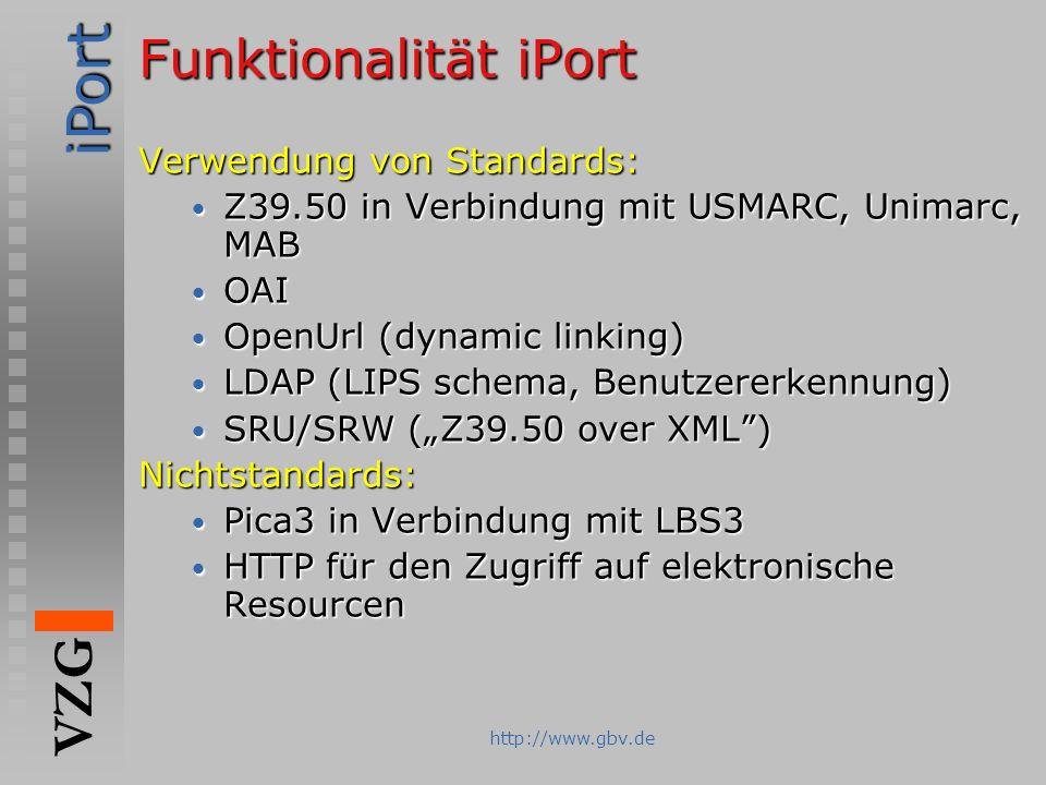 Funktionalität iPort Verwendung von Standards: