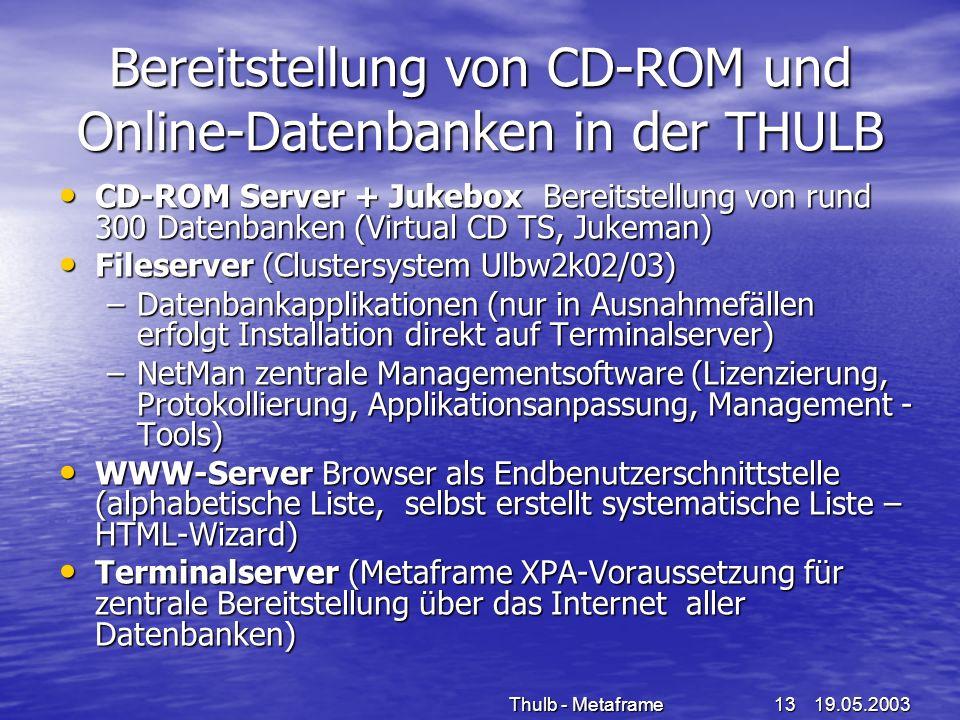 Bereitstellung von CD-ROM und Online-Datenbanken in der THULB