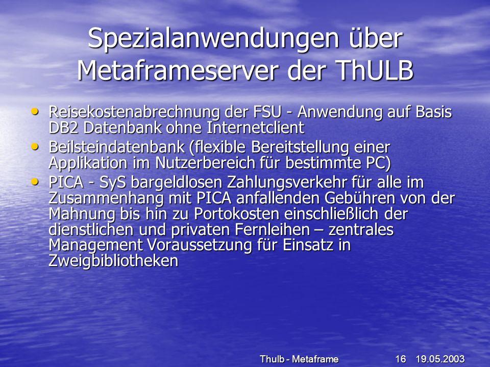 Spezialanwendungen über Metaframeserver der ThULB