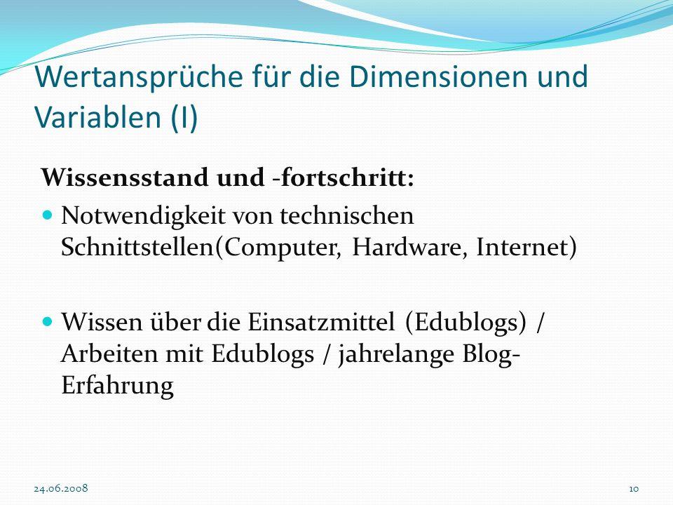 Wertansprüche für die Dimensionen und Variablen (I)