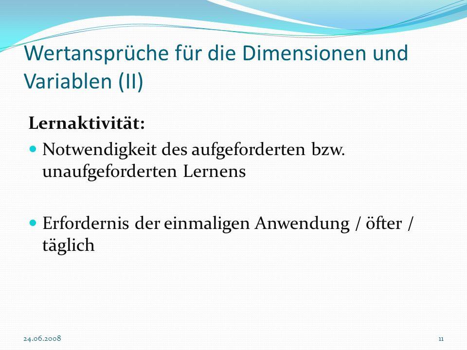 Wertansprüche für die Dimensionen und Variablen (II)