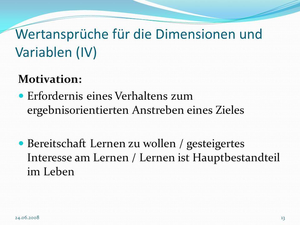 Wertansprüche für die Dimensionen und Variablen (IV)