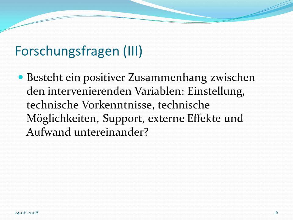 Forschungsfragen (III)