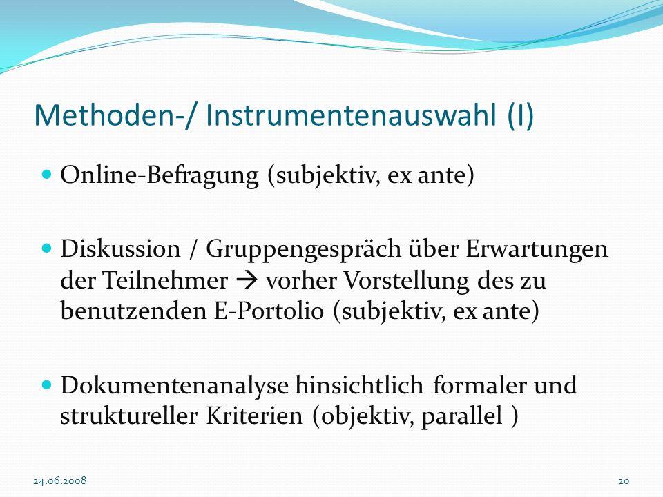 Methoden-/ Instrumentenauswahl (I)