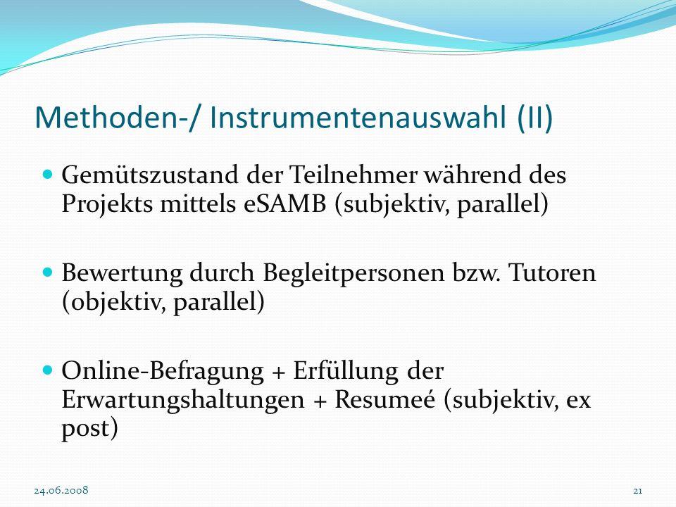 Methoden-/ Instrumentenauswahl (II)