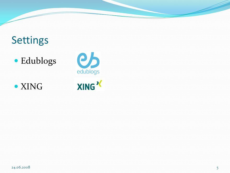Settings Edublogs XING 24.06.2008