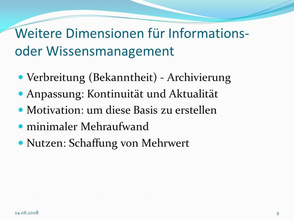 Weitere Dimensionen für Informations- oder Wissensmanagement