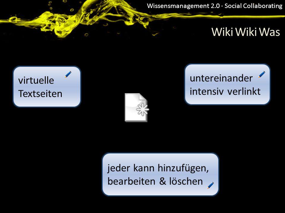 Wiki Wiki Was untereinander intensiv verlinkt virtuelle Textseiten