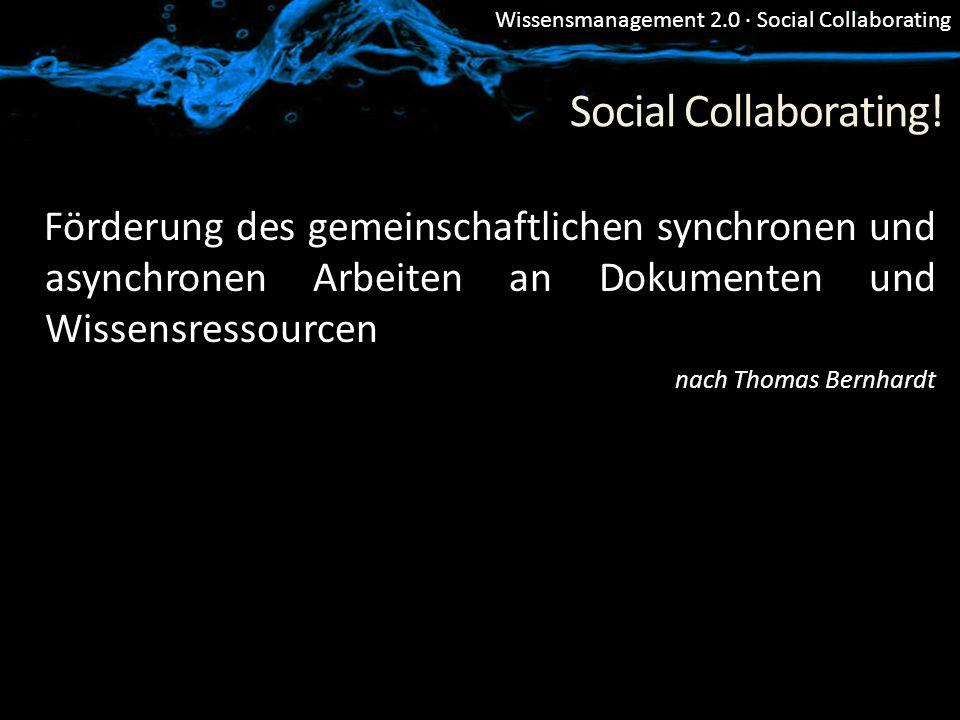 Social Collaborating! Förderung des gemeinschaftlichen synchronen und asynchronen Arbeiten an Dokumenten und Wissensressourcen.