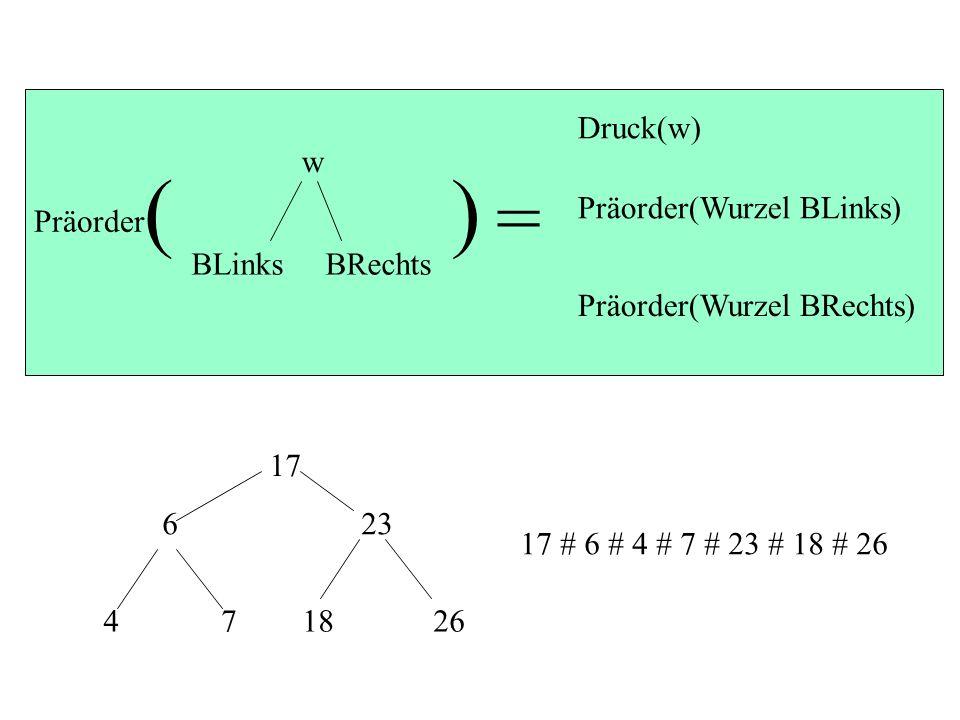 ( ) = Druck(w) w BLinks BRechts Präorder Präorder(Wurzel BLinks)