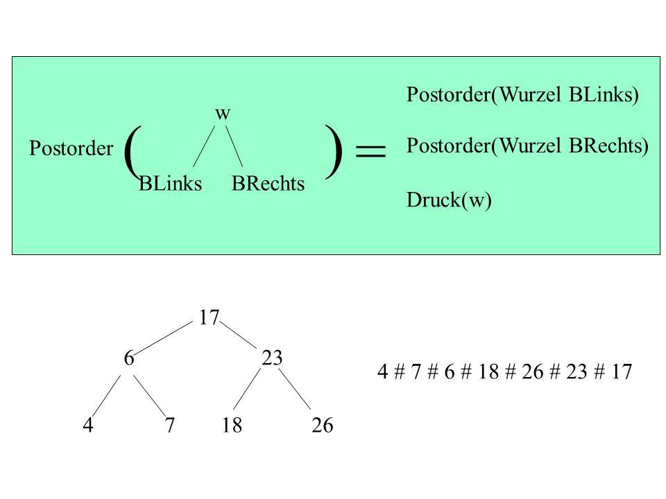 ( ) = Postorder(Wurzel BLinks) w BLinks BRechts Postorder