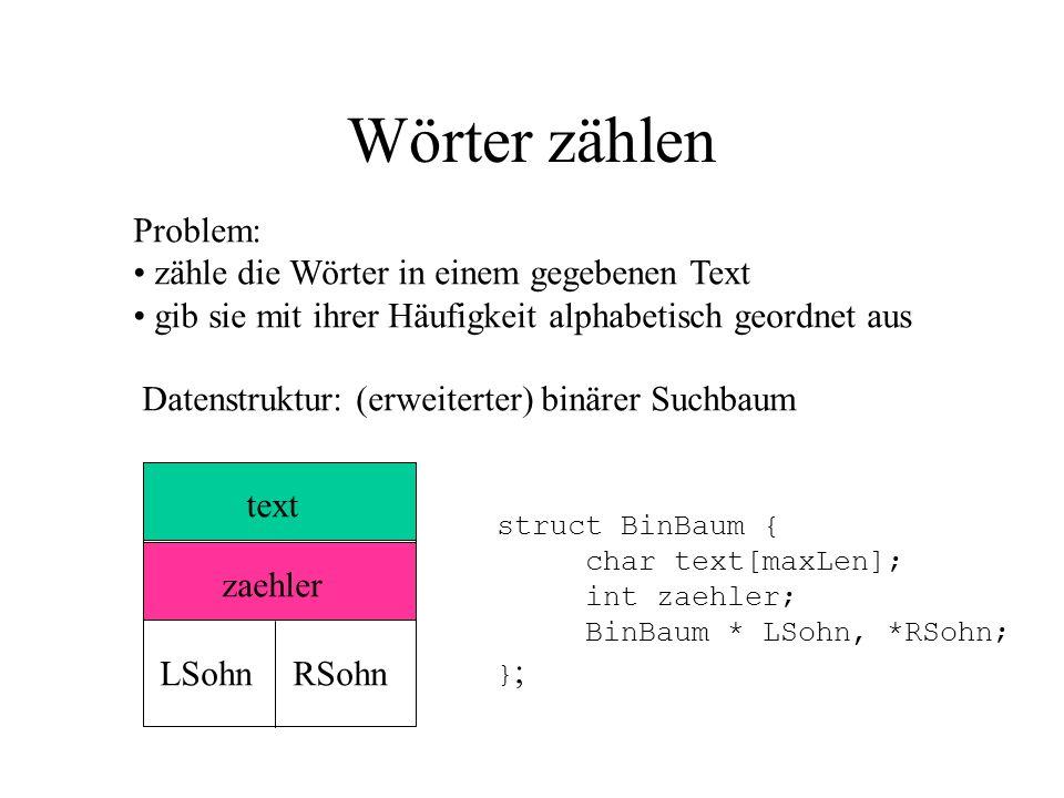 Wörter zählen Problem: zähle die Wörter in einem gegebenen Text