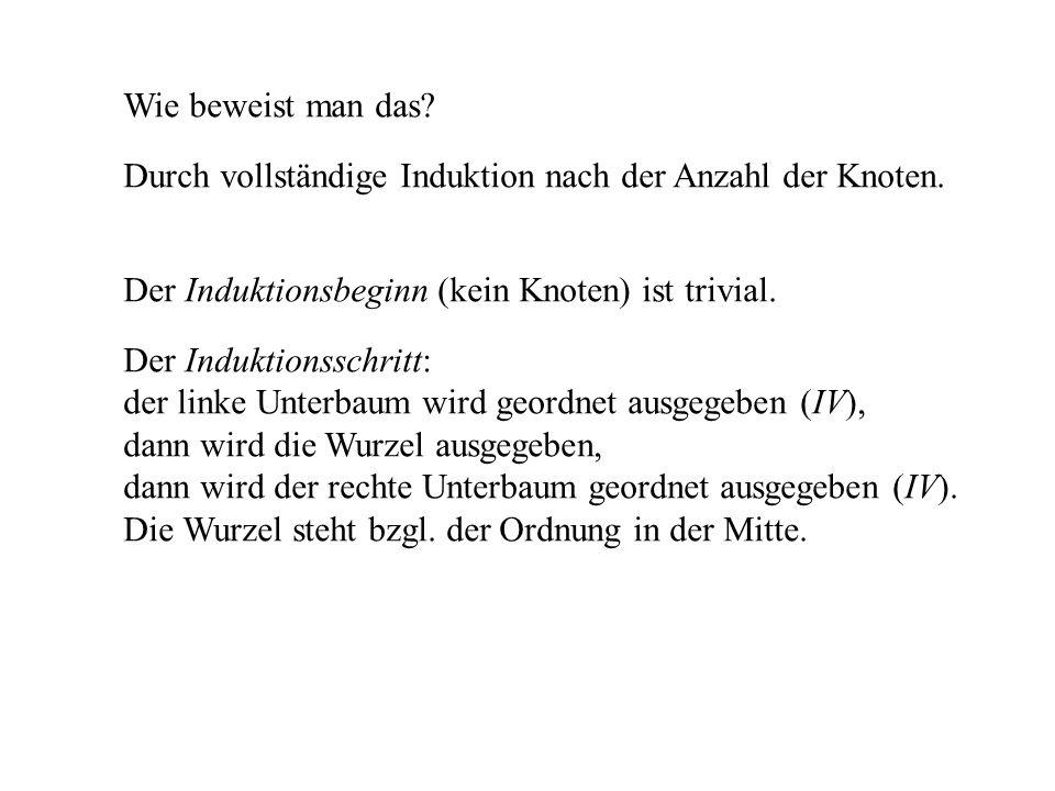 Wie beweist man das Durch vollständige Induktion nach der Anzahl der Knoten. Der Induktionsbeginn (kein Knoten) ist trivial.
