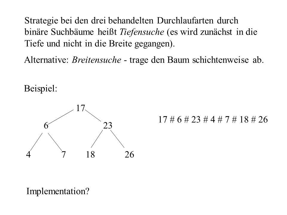 Strategie bei den drei behandelten Durchlaufarten durch binäre Suchbäume heißt Tiefensuche (es wird zunächst in die