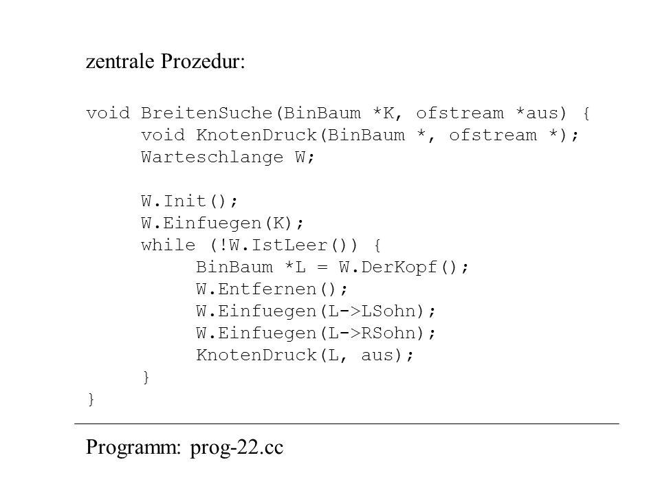 zentrale Prozedur: Programm: prog-22.cc