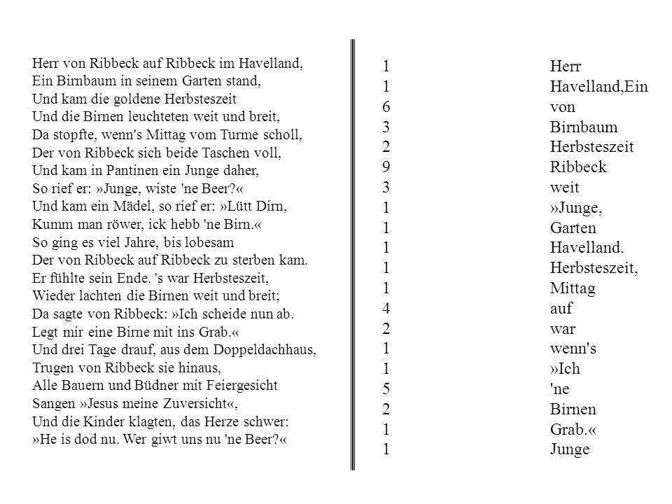 1 Herr 1 Havelland,Ein 6 von 3 Birnbaum 2 Herbsteszeit 9 Ribbeck