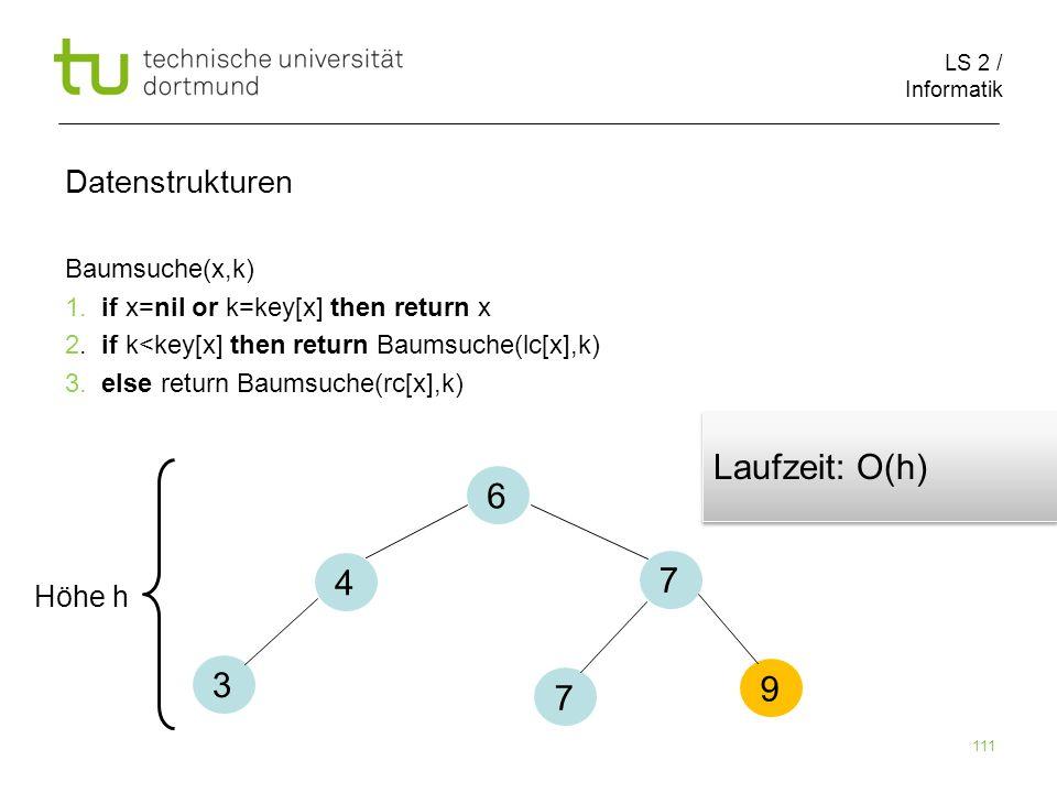 Laufzeit: O(h) 6 4 7 3 9 7 Datenstrukturen Höhe h Baumsuche(x,k)