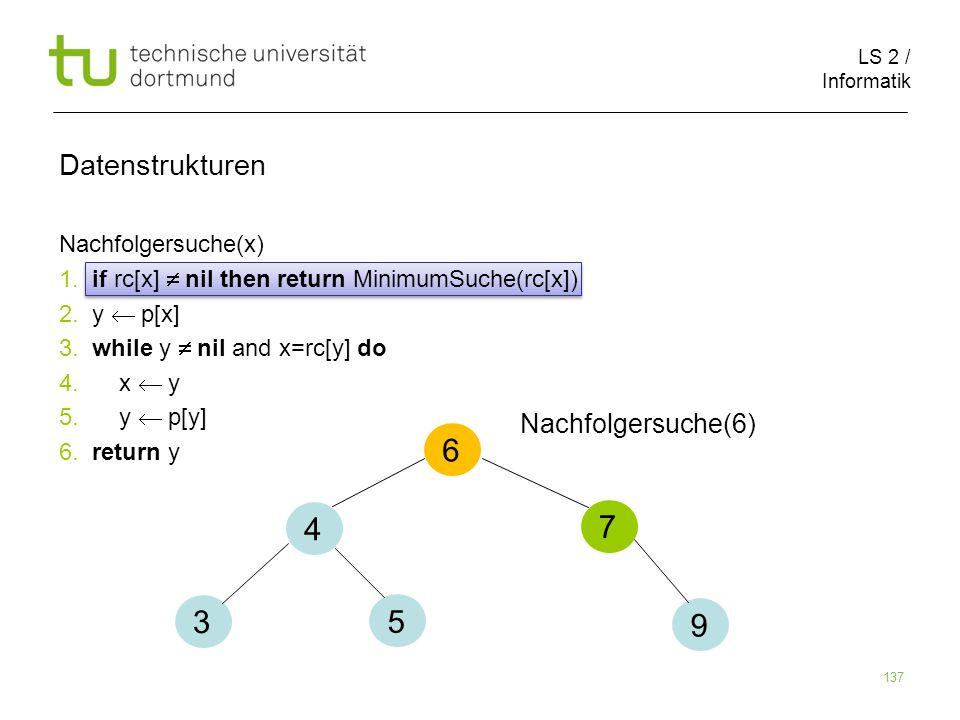 6 4 7 3 5 9 Datenstrukturen Nachfolgersuche(6) Nachfolgersuche(x)