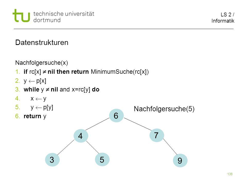 6 4 7 3 5 9 Datenstrukturen Nachfolgersuche(5) Nachfolgersuche(x)