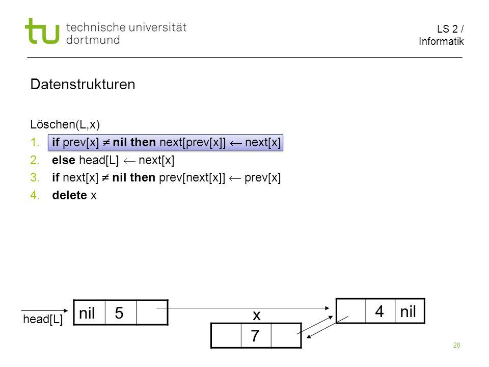 nil 5 x 4 nil 7 Datenstrukturen Löschen(L,x)