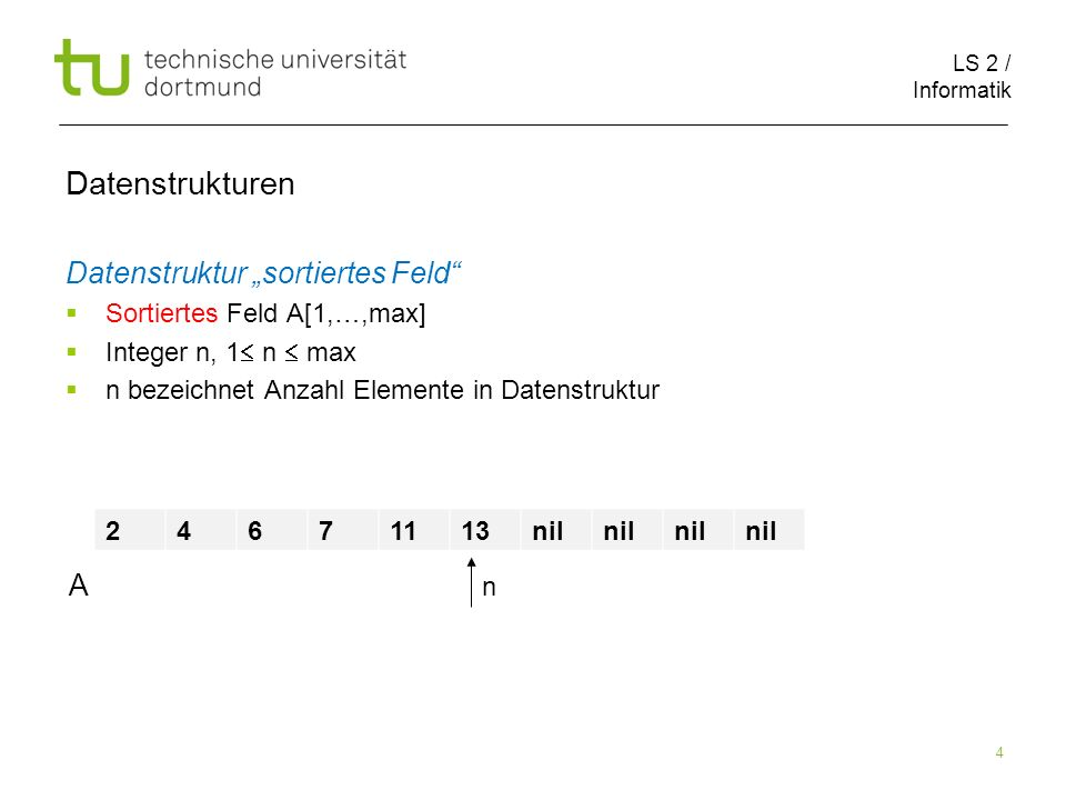 "Datenstrukturen Datenstruktur ""sortiertes Feld A"