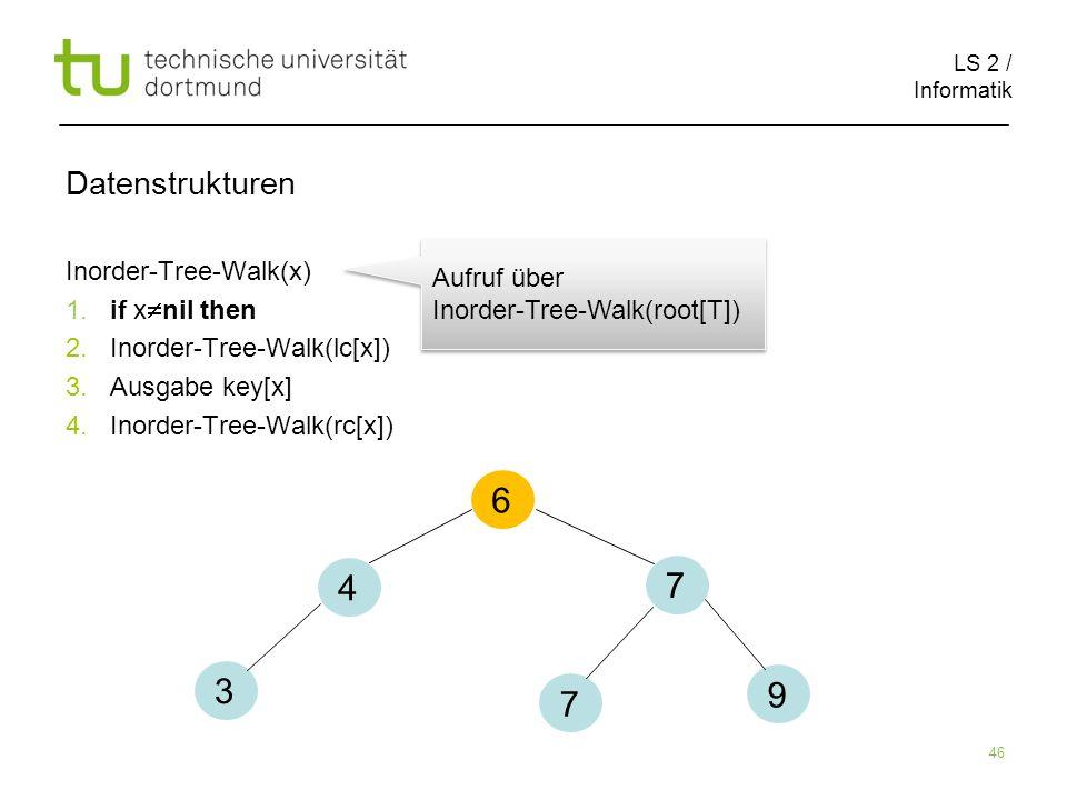 6 4 7 3 9 7 Datenstrukturen Inorder-Tree-Walk(x)