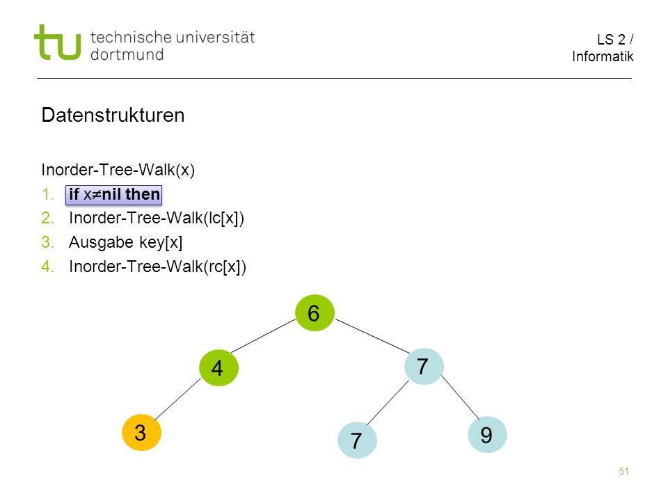 6 4 7 3 9 7 Datenstrukturen Inorder-Tree-Walk(x) 1. if xnil then